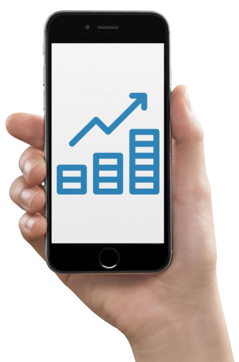 Superyacht Crew Member holding a cell phone showing his financial investments graph growing