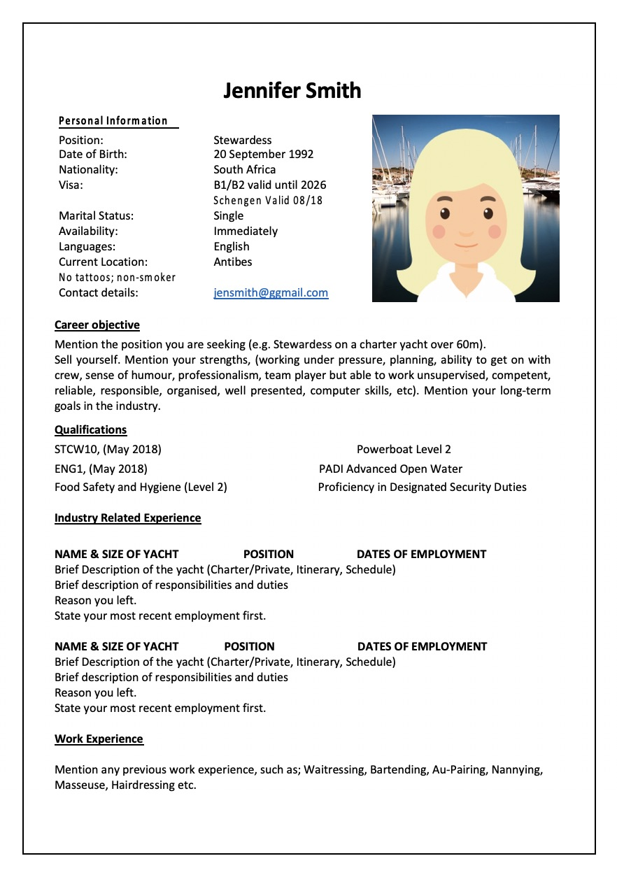An example of a yacht stewardess CV ready to find a job